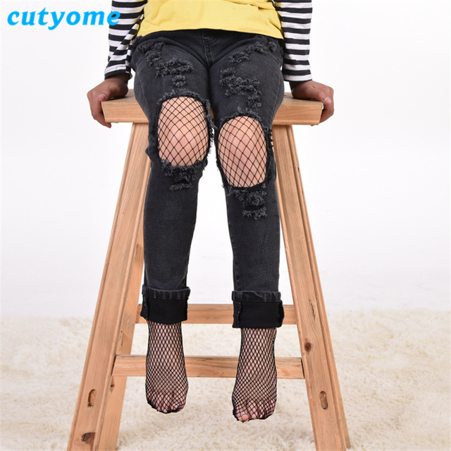 f33b7c81b3022 Cutyome Cool Girls Fishnet Stockings Fashion Stylish Black Net Pantyhose  for Kids Ripped Jeans Summer Children
