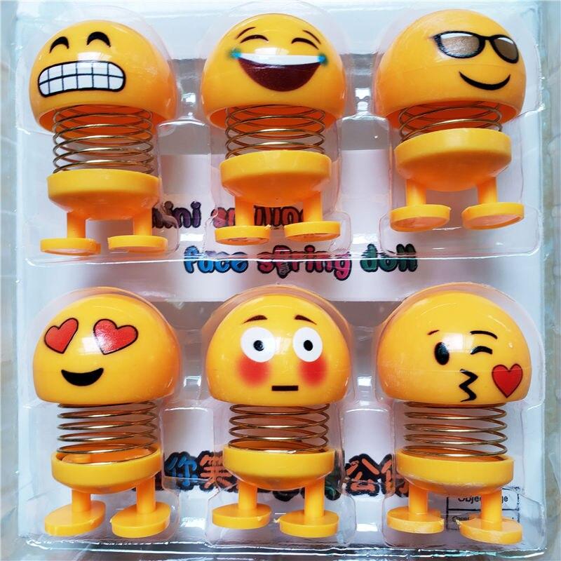 6 Pcs Huihom Cute Emoji Mini Shaking Head Car Ornament Dolls Funny Smile Face