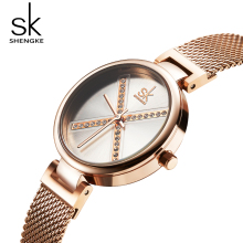 купить Shengke Luxury Stainless Steel Wrist Watch Women Ladies Clock  Reloj Mujer 2019 SK Rose Gold Quartz Wristwatches For Women в интернет-магазине