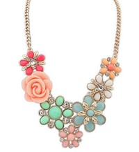 2016 Multicolor Rose Women Statement Necklace Link Chain Fashion Flower Collar Necklace & Pendant Jewelry Trends For Gift Party