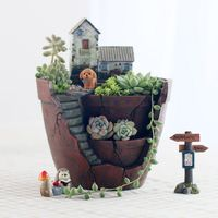 Fairy Garden Pot Enlarged 6 Inch Creative Flower Pot Hanging Garden Design With Sweet House Planter