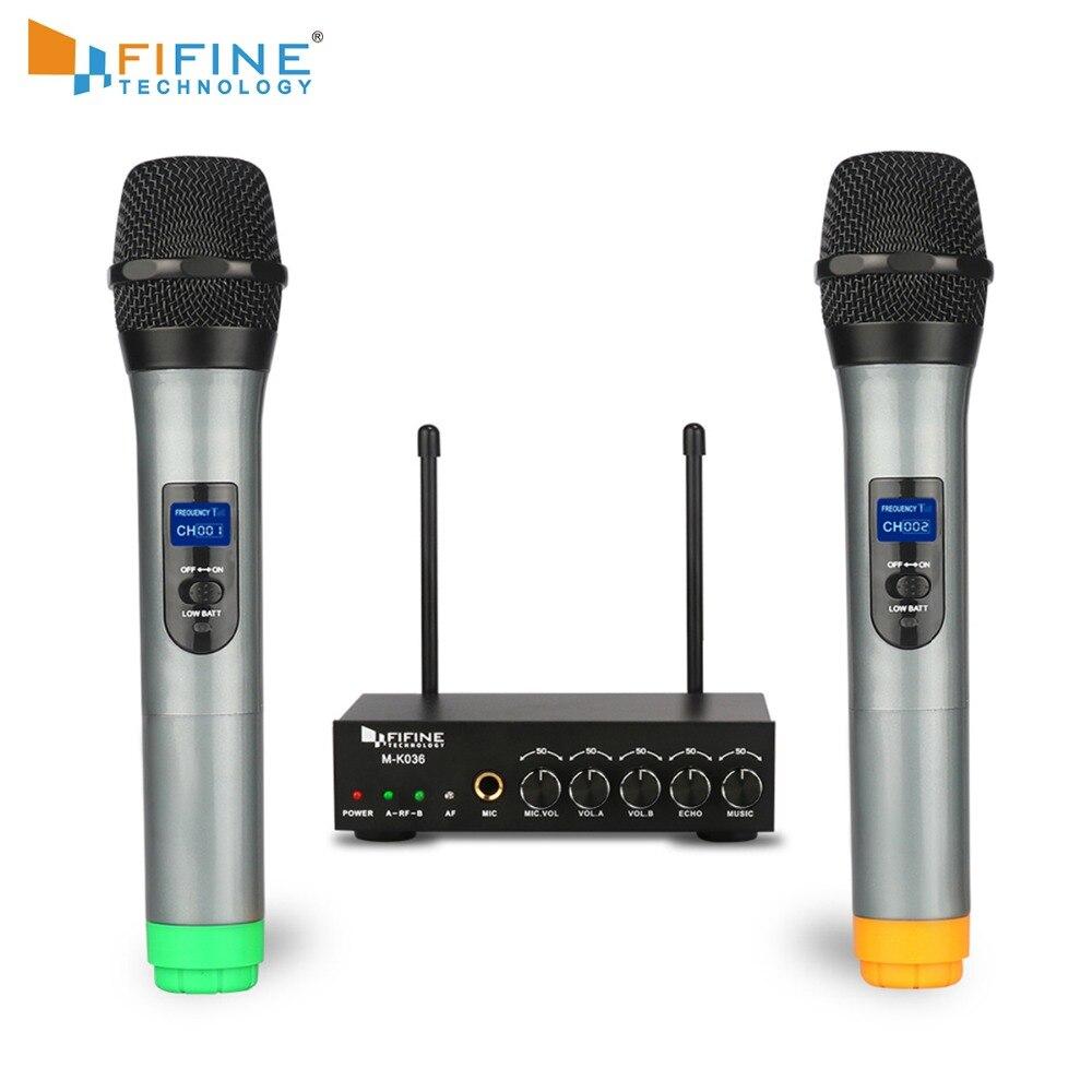 Sistema de micrófono de doble canal de Fifine UHF con dos micrófono inalámbrico de mano para la parte de la barra de KTV de la familia pequeña etapa al aire libre K036