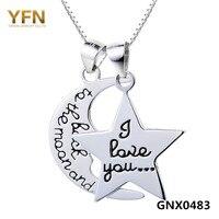 YFN Yeni Çok katmanlı 925 Ayar Gümüş Kolye Kolye Romantik Ay ve Arka Mesaj Seni Seviyorum kazınmış GNX0483