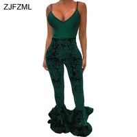 ZJFZML Double Ruffles Velvet Sexy Flare Pant Women Green High Waist Skinny Pencil Trouser Elegant High Waist Bell Bottoms Pants