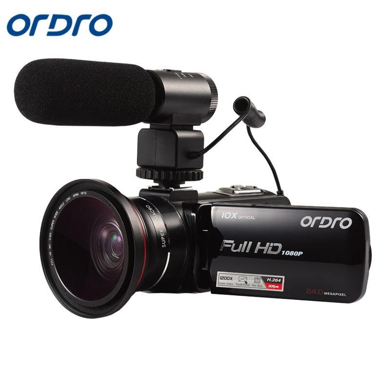 Ordro HDV-Z82 caméra vidéo 10X Zoom optique Full HD 1080 P caméscope avec Microphone externe objectif grand Angle