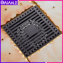 цена на Bathroom Floor Drain Cover Square Brass Tile Insert Balcony Toilet Black Shower Drainer Strainer Anti-odor Floor Waste Grates
