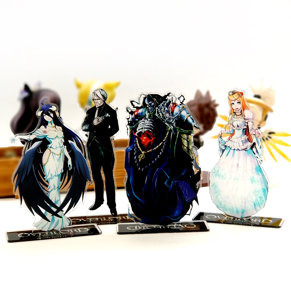 Love Thank You Overlord Ainz Albedo Reneer Sebas acrylic stand figure model double-side plate holder cake topper anime love thank you anime jojo s kujo jotaro bizarre adventure acrylic stand figure model double side plate holder cake topper anime