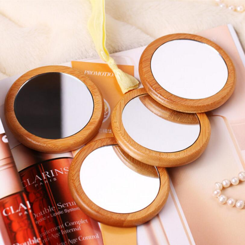 10PCS Pocket Mirror Wooden Makeup Convenience Mirror Beautiful hand held hand mirror environmental protection SE14