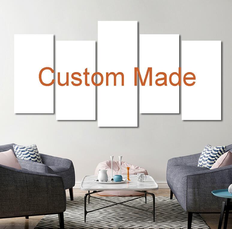 Personnalisé Imprime La Peinture Sur Mesure Cadre Photo Toile 5 Panneau Modulaire Home Decor Drop Shipping