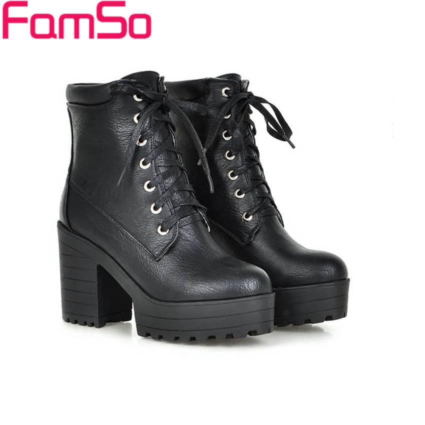 Plus Size34 43 2016 New Sexy font b Women b font Boots Black platforms Pumps 4Colors