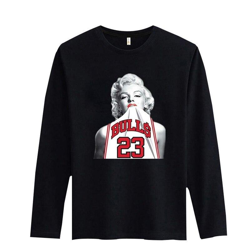 64f456fb New Arrival Marilyn Monroe Mens Long Sleeve Tshirts Hip Hop for Street wear  T-shirt Men Long Sleeve in Better Cotton Teeshirt