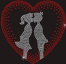 2pc/lot Heart Valentines  Applique fixing rhinestones hot fix rhinestone transfers iron on crystal design