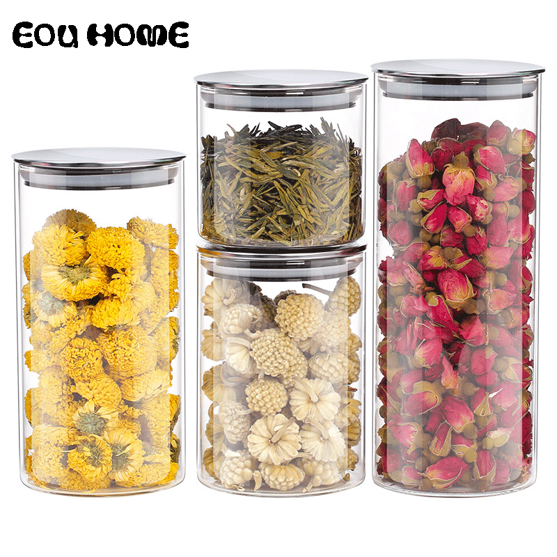 550/750/1000ml Glass Storage Bottles Jars with Stainless Steel Lid Food Tea Leaf Dry Goods Bottles Spice Jars Kitchen Containers title=