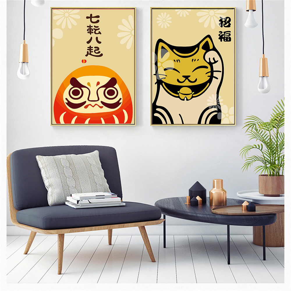 Art E Decoration Us 1 95 40 Off Wall Art Nordic Style Decoration For Living Room Chinese Lovely Fortune Cat Animal Painting Fashion Poster Modern Print Pictures In