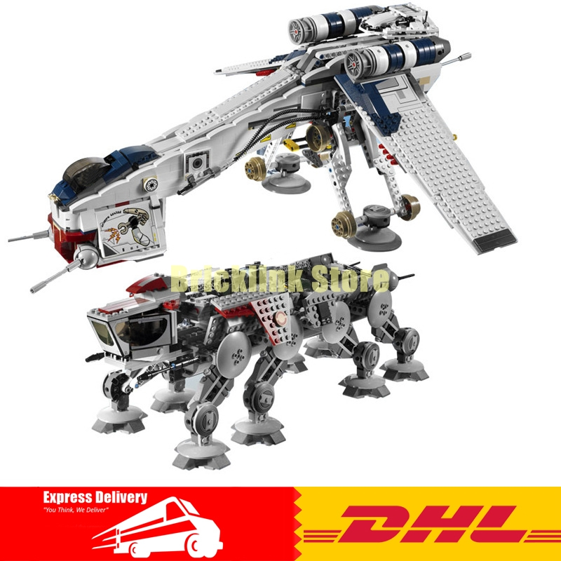 IN STOCK LEPIN 05053  Star 1788pcs Republic wars Dropship with AT- Walker OT Model Building blocks Bricks 10195 Toy Gift w 29 at at walker style wall sticker