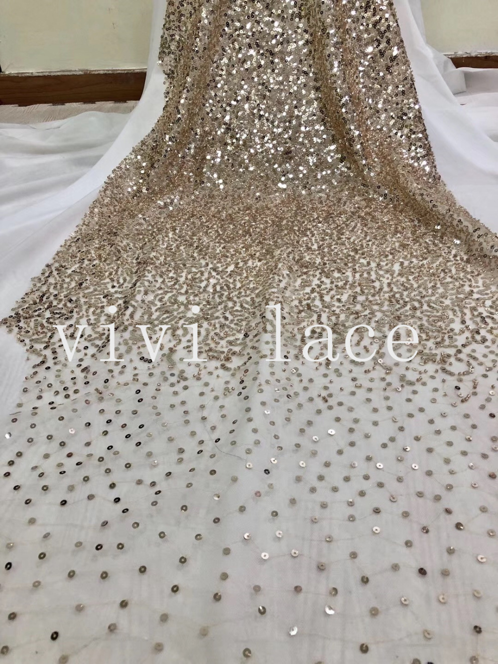 5YARDS new JH004 # Stock high quality gold sequin beads embroidery fabric for wedding dress/sawing,ship by dhl