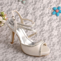 Bride Collections Ivory Satin Sandals Wedding High Heels 2015 Shoes Bridal Free Shipping