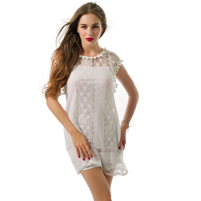 NIBESSER Sexy Women Casual Sleeveless Mini Lace Dress Hot Summer Beach Dress Tassel Solid White Plus Size Beach Short Dress
