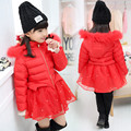 2016 New Children Winter Jackets Girls Cotton Padded Coat Guaze Patchwork Jacket Kid Outerwear with Hood Warm Big Girl Parkas