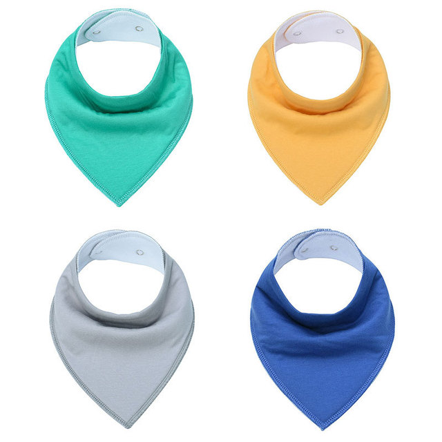 Cotton Baby Bibs & Burp Cloths Solid Infant Babador Bandana Bib Triangle Scarf with Adjustable Snaps Baby Accessories