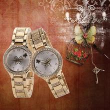 Elegant Girls Rhinestone Butterfly Stainless Metal Quartz Bangle Bracelet Watch smt 89