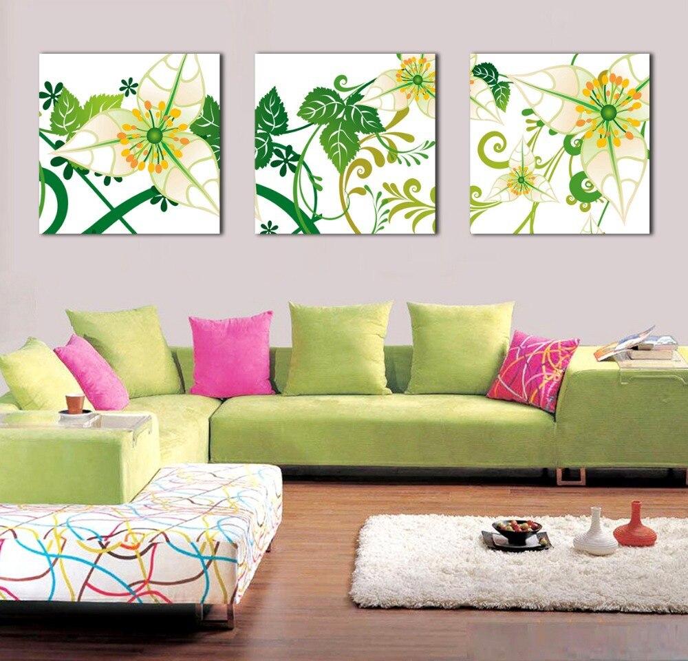 7dd6c6985 جديدة الكورية نمط جدار الفن قماش يطبع خلاصة الزهور الصفراء الصورة ل مكتب  ديكور المنزل الحديث 3 أجزاء