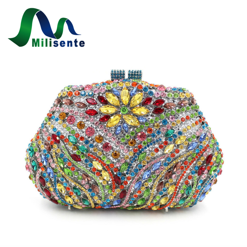 Luxury Crystal Clutch Handbag Women Evening Bag Wedding Party Purses Banquet milisente high quality luxury crystal evening bag women wedding purses lady party clutch handbag green blue gold white