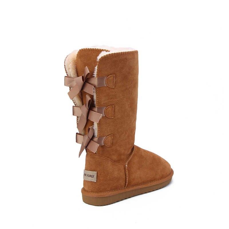 MBR kuvvet 2018 moda kadın uzun çizmeler hakiki inek deri kar botları ilmek kar botları sıcak yüksek kışlık botlar abd 3-13