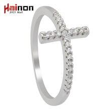 Трендовые кольца с боковым крестом и серебряным покрытием модные
