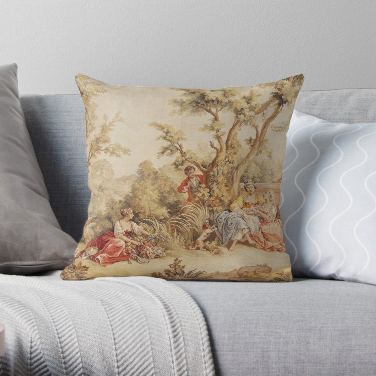 Aubusson French Tapestry 18th Century Pillow Covers Cases Pattern Nordic Cover Cushion Pillowcase Square Print
