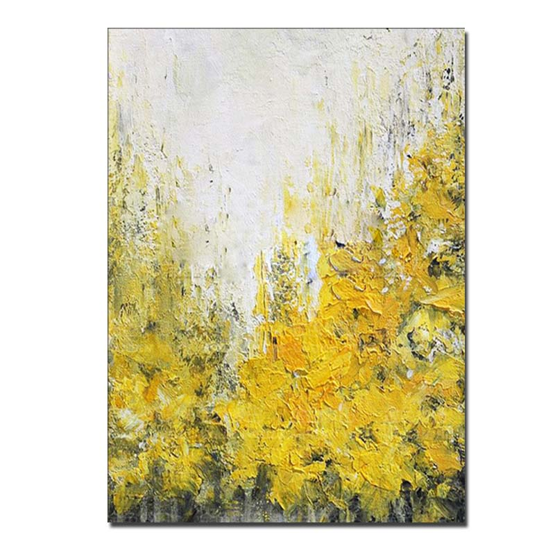 New Hand Painted Abstract Yellow and Grey Oil Painting On Canvas Wall Art Picture For Home Decoration Wall Decor Drop Shipping|Painting & Calligraphy| - AliExpress