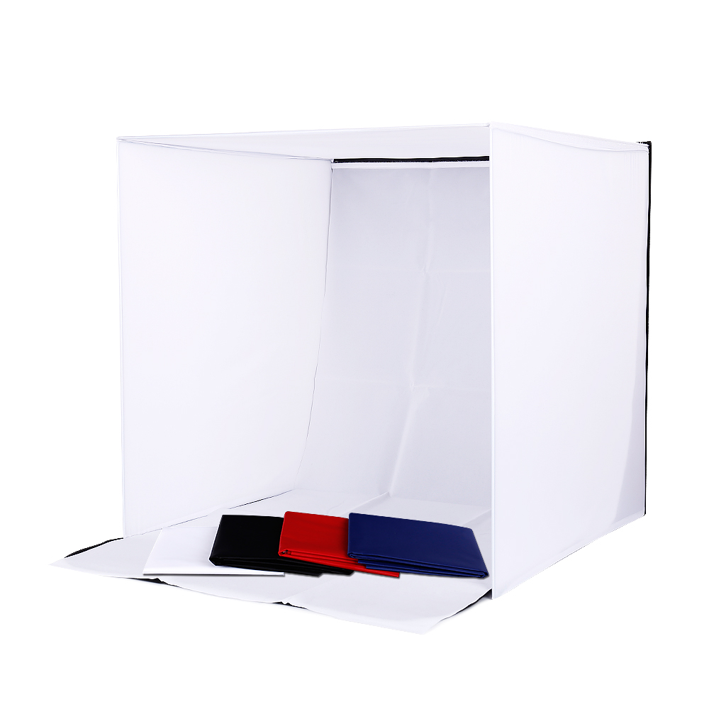 CY Profession Studio Photo Studio Tente de Tir Softbox Cube Box 60 x 60cm tente photo lumière + sac portable + 4 Toiles de fond lightbox