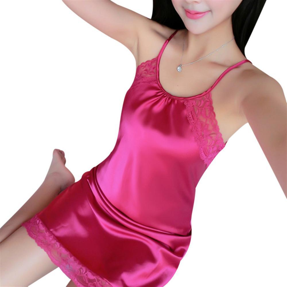 Womens Silk Nightgowns Sleepwear Satin Night Dress Babydoll Sexy Lingerie Nightdress Lac ...
