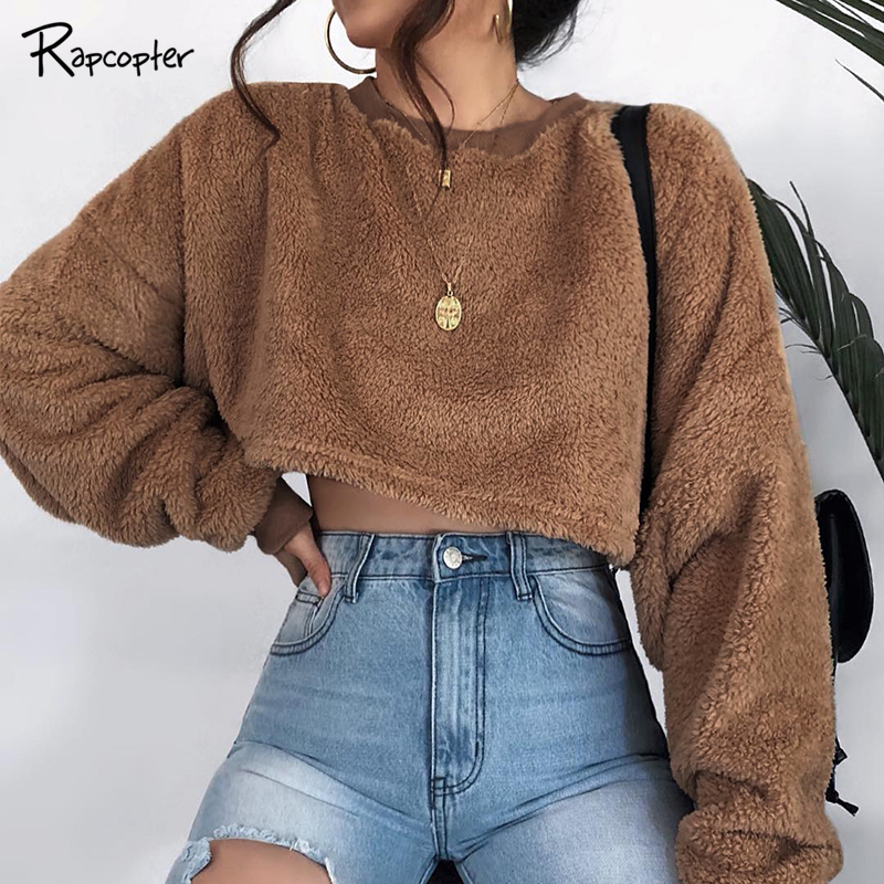 Hoodies & Sweatshirts Rapcopter Women Loose Cropped Sweatshirts O-neck Streetwear Autumn Winter Warm Villus Hoodies Streetwear Fashion Pullove Hoodie Skilful Manufacture