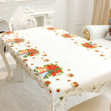 Disposable 110*180cm New Year PVC Tablecloth Kitchen Dining Table Decorations Home Party Covers Christmas Ornaments