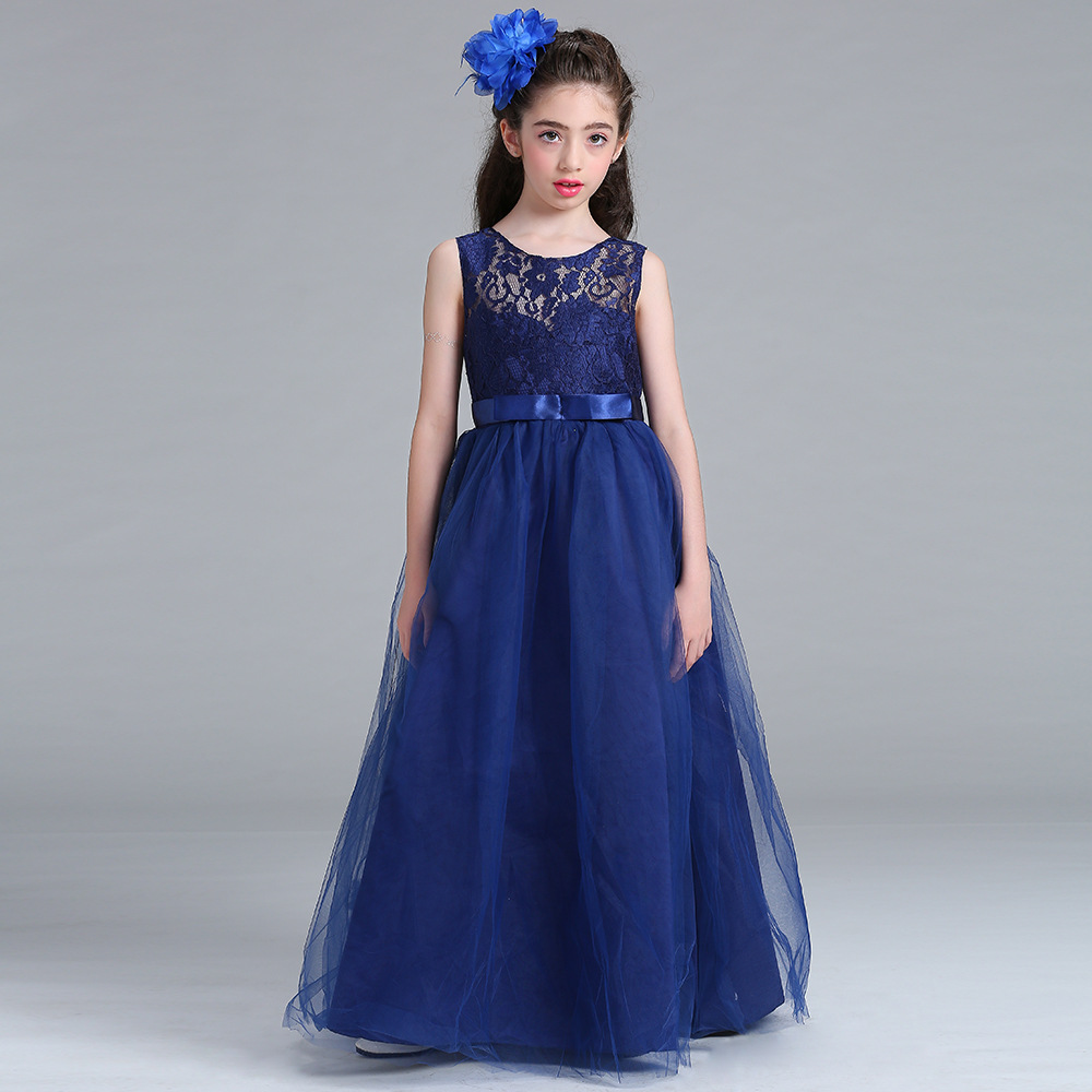 2018 Hot Sale A-Line Floor Length Scoop Sleeveless Lace And Bow Sash   Flower     Girls     Dresses   Cheap Little   Girl   Party Gowns