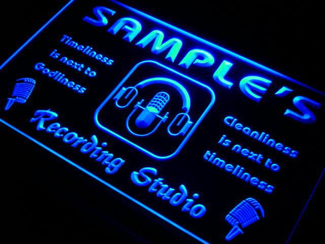 Qm-tm nombre personalizado micrófono de estudio de luz de neón luz signos