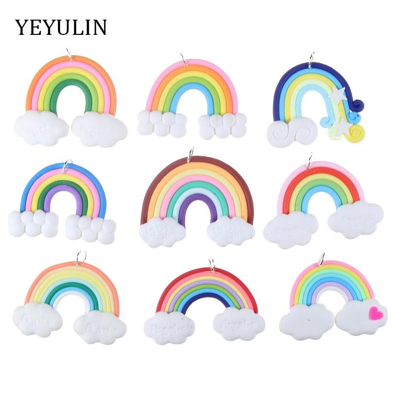 10 stücke Nette Wolken Regenbogen PPC Charms Anhänger Für Halskette Anhänger DIY Schmuck, Der 46*38mm