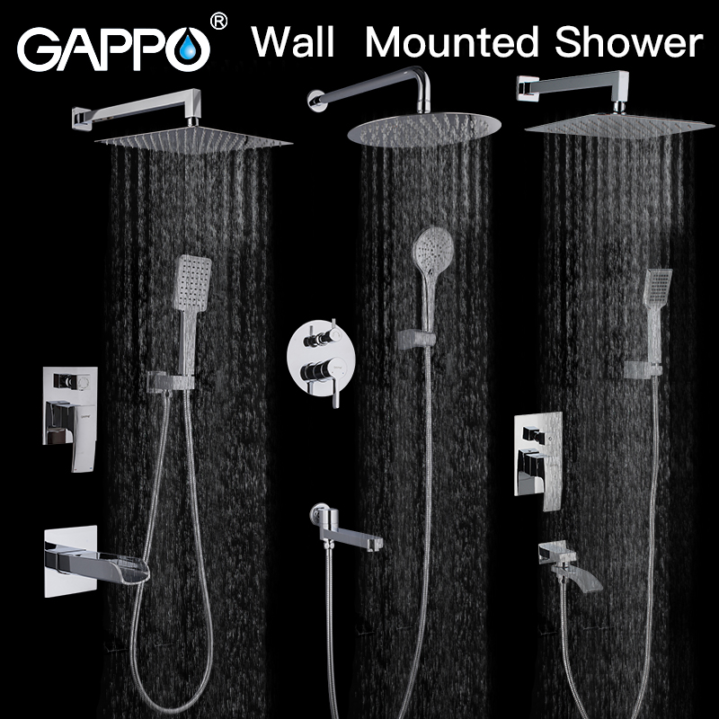 GAPPO Shower System Bathroom Shower Faucet Tap Bath Mixer Bathtub Faucet Set Waterfall Shower Set Chrome Rain Shower Head