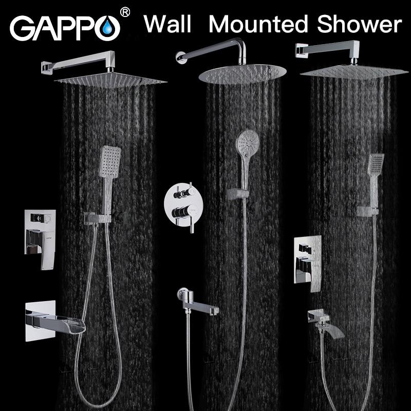 GAPPO Sistema de Chuveiro do banheiro torneira do chuveiro torneira misturadora banheira torneira da banheira conjunto cachoeira chuveiro set chrome rain shower cabeça