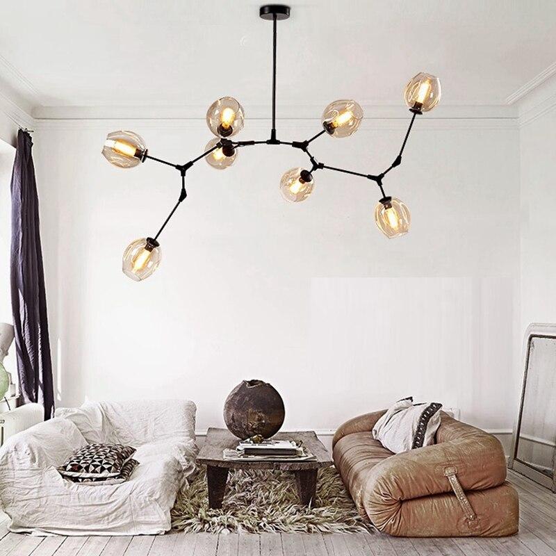 Современная ветка люстра стеклянные шары Волшебные лучи подвесной светильник Роскошные Лофт осветительное оборудование гостиная украшен...