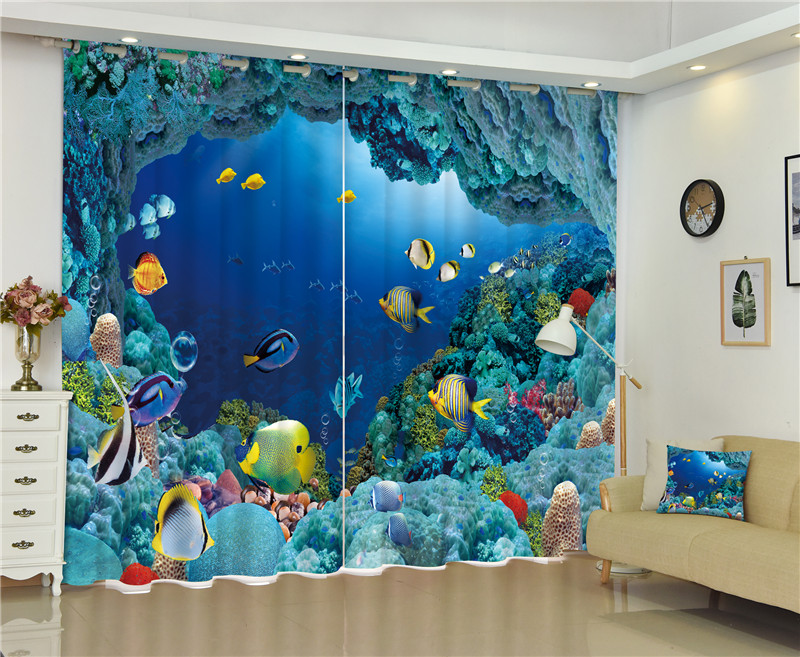2017 Underwater world 3D Blackout Curtains For Living room Bedding room Decor Tapestry Wall Carpet Drapes Cotinas2017 Underwater world 3D Blackout Curtains For Living room Bedding room Decor Tapestry Wall Carpet Drapes Cotinas
