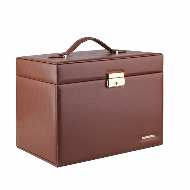 Brown Large Jewelry Box Girls Necklaces Rings Organizer Earrings Container Women Display Storage Case Lock Leather