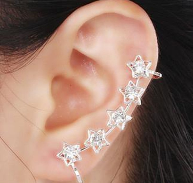 1PC Hot Sell Fashion Full Rhinestone Star Pentagram Earrings Clips For Ear Clip Earrings Atmosphere Ear Cuff For Women Brinco(China)