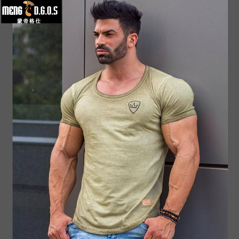 Men cotton Short sleeve t shirt Summer New Gyms Fitness  T-shirt male tees tops Man casual Jogger Solid clothing