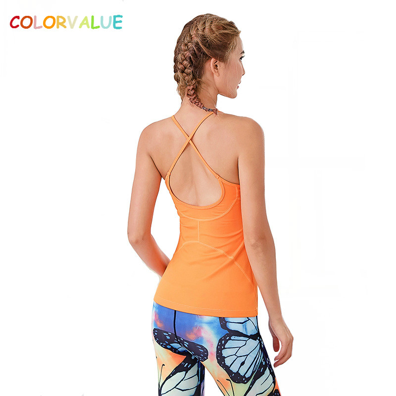 Colorvalue Removable Pads Yoga Top Women Cross Back Sport Fitness Shirt Sleeveless Slim Fit Solid Sport Running Vest Tank Top