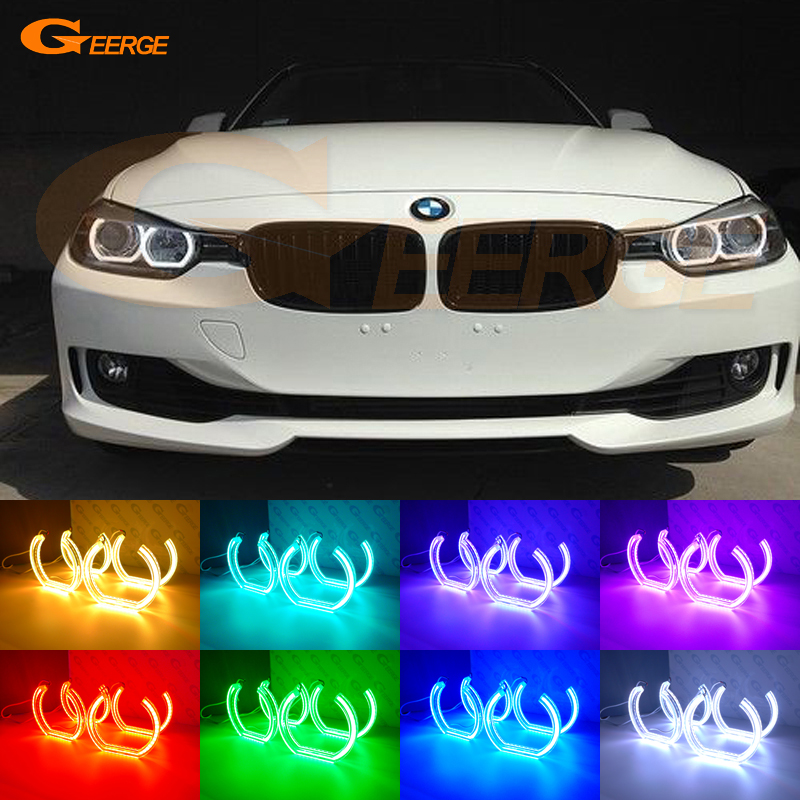 цены For BMW 3 Series F30 F31 F34 2012 2013 2014 2015 2016 halogen headlight Excellent DTM Style Multi-Color RGB LED Angel Eye kit