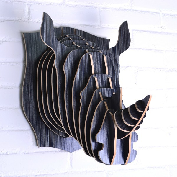 Nordic Scandinavian animal rhino head,fashion wall decoration,European wooden decorative handicrafts,DIY pastoral wall hanging