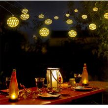 RGB Lantern Night Light 10/20 LED Moroccan Ball Solar String Lights  Blue Warm White And Waterproof Fairy Globe