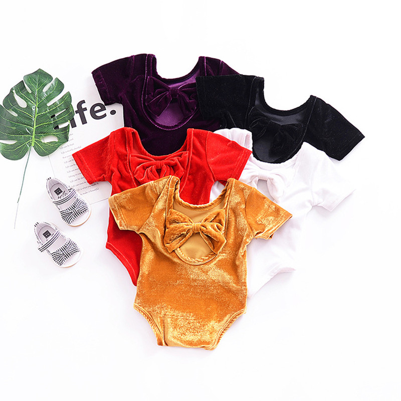 2018 New infant short sleeve halter bow climbing clothes fashion baby girls bodysuit kids jumpers age for 0-3Years 17N1120